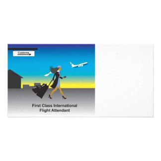 1st Class International Flight Attendant Custom Photo Card