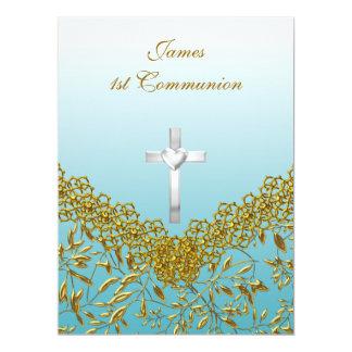 1st Communion Party Invitation blue
