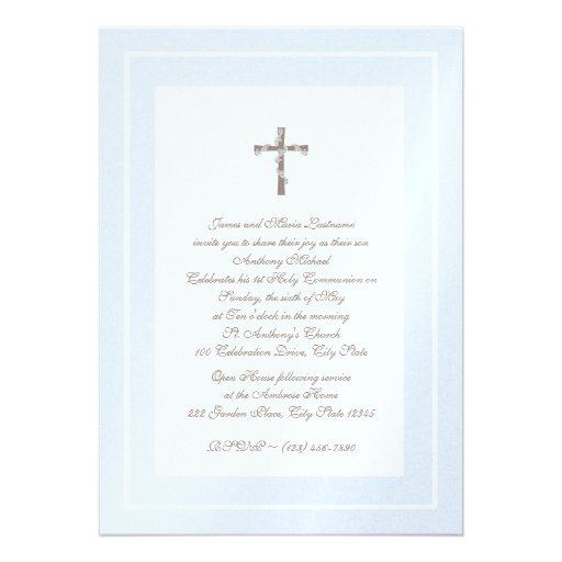 1st Communion Soft blue and Brown Invite
