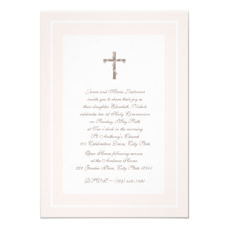 1st Communion Soft Pink and Brown 5x7 Paper Invitation Card