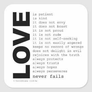 """1st CORINTHIANS """"MEANING OF REAL LOVE"""" STICKER"""