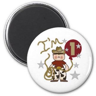 1st Cowboy Birthday 2 Inch Round Magnet