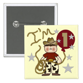 1st Cowboy Birthday Tshirts and Gifts Button