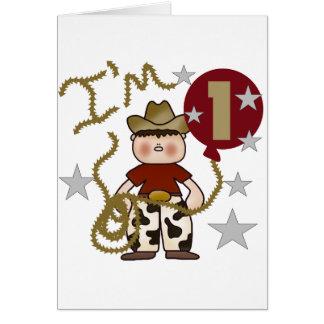 1st Cowboy Birthday Tshirts and Gifts Greeting Card