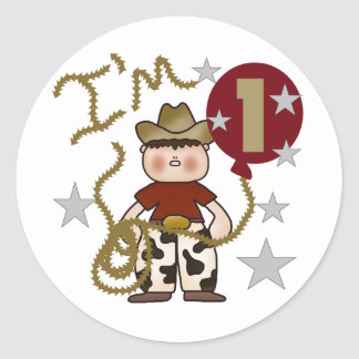 1st Cowboy Birthday Tshirts and Gifts Classic Round Sticker