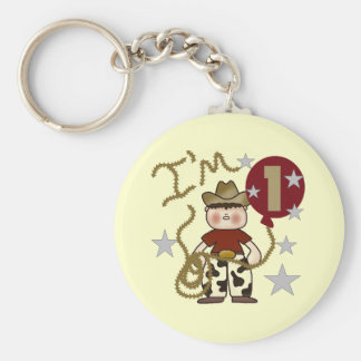 1st Cowboy Birthday Tshirts and Gifts Basic Round Button Keychain
