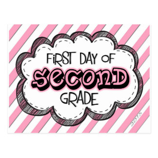 1st day of 2nd grade sign .jpg postcard