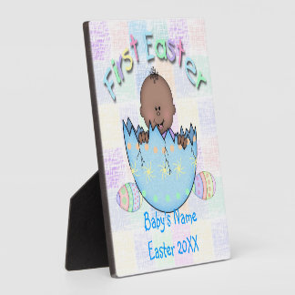 """1st Easter Ethnic Baby Boy Plaque With Easel 5""""x5"""""""