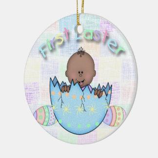 1st Easter Ethnic Baby Boy Round Ceramic Ornament