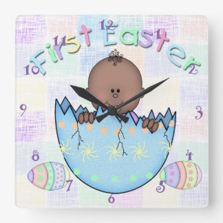 1st Easter Ethnic Baby Boy Square Wall Clock