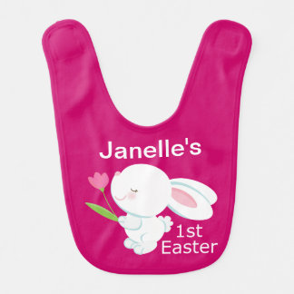 1st Easter Personalized Bunny Baby Bib