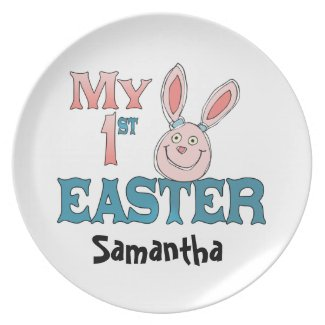 1st Easter Pink Bunny Dinner Plates