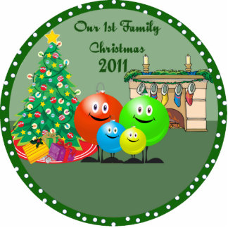 1st Family Christmas Ornament 2011 Photo Cut Outs