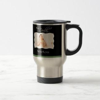 1st Father's Day - Black Custom Photo Stainless Travel Mug