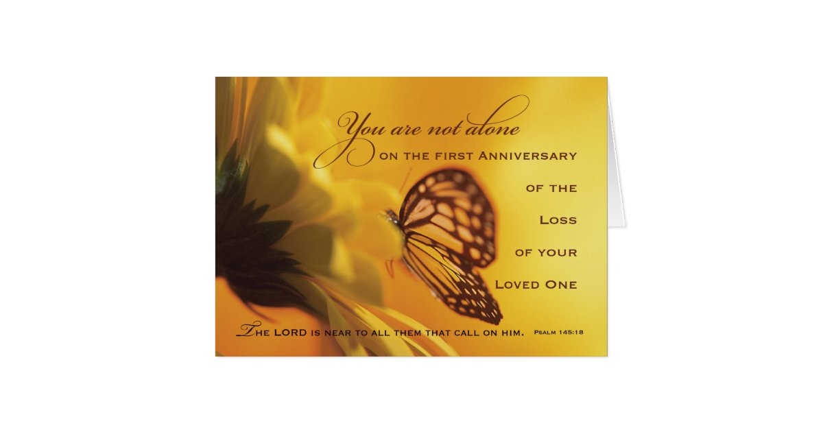1st First Anniversary Death Of Loved One Flower Card