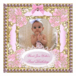 1st First Birthday Girl Pink White Gold Photo Personalized Announcements