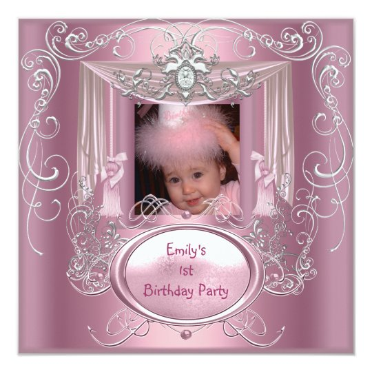 1st First Birthday Party Girl Pink Silver Star Card