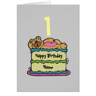 1st First Birthday teddybear cake personalized Greeting Card