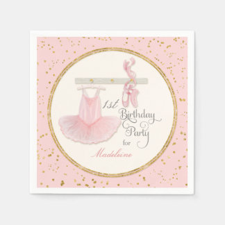1st First Girls Birthday Party Ballerina Tutu Paper Napkin