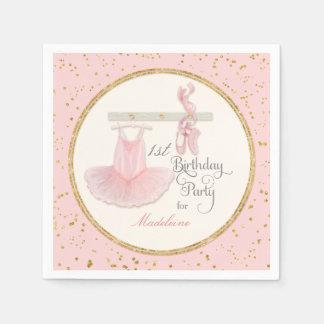 1st First Girls Birthday Party Ballerina Tutu Paper Napkin