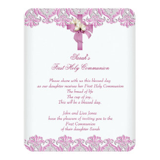 1st First Holy Communion Cross Girls White Pink 4.25x5.5 Paper Invitation Card