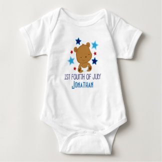 1st Fourth of July personalized bear Baby Bodysuit