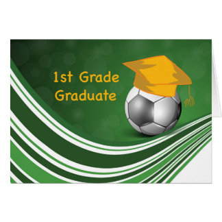 1st Grade Graduation, Soccer Ball and Hat Card