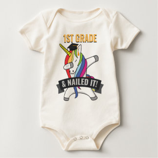 1ST GRADE Nailed It Unicorn Dabbing Graduation Baby Bodysuit