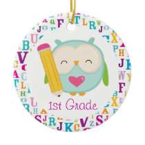 1st Grade Personalized Owl Teacher Ornament