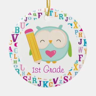 1st Grade Personalized Owl Teacher Ornament