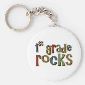 1st Grade Rocks First Basic Round Button Keychain