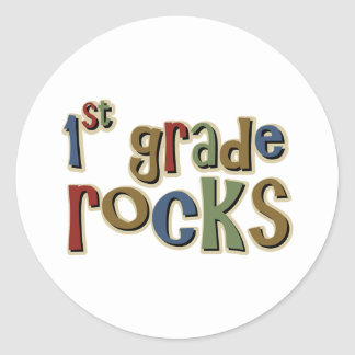 1st Grade Rocks First Classic Round Sticker