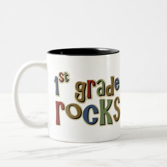 1st Grade Rocks First Two-Tone Coffee Mug