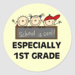 1st Grade School is Cool Tshirts and Gifts Round Sticker