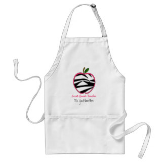 1st Grade Teacher Apron -  Zebra Print Apple