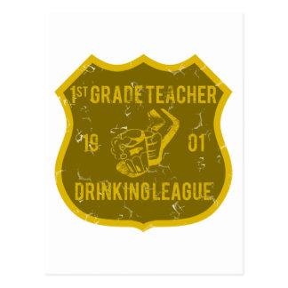 1st Grade Teacher Drinking League Postcard