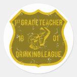 1st Grade Teacher Drinking League Classic Round Sticker
