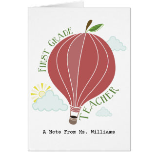 1st Grade Teacher Hot Air Balloon Apple Card