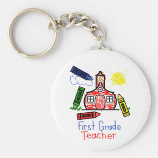 1st Grade Teacher Keychain - Crayons & School