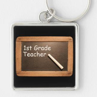 1st Grade Teacher - Rustic Vintage School Slate Silver-Colored Square Keychain