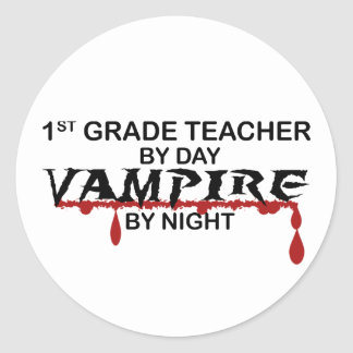 1st Grade Vampire by Night Classic Round Sticker