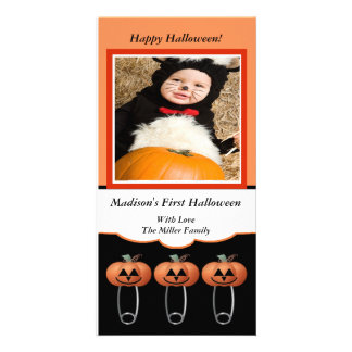 1st Halloween Pumpkin Diaper Pins Photo Card