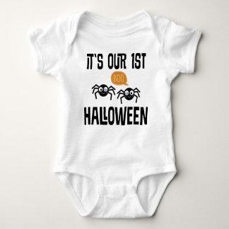 1st Halloween Twins holiday baby tee