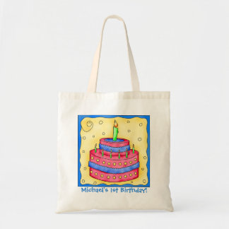 1st Happy Birthday Cake Name Personalized Boy Gift Tote Bag
