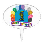 1st Happy Birthday with Balloons Cake Topper Pick