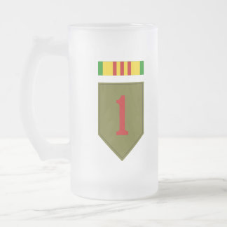 1st I.D. with Vietnam Service Ribbon Frosted Glass Beer Mug