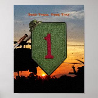 1st ID Infantry big red 1 Vietnam War Patch Print