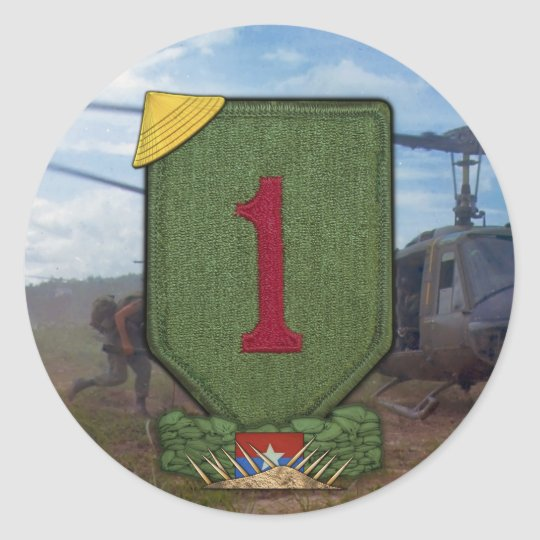 1st INF DIV infantry division vietnam war patch Classic Round Sticker