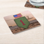 1st infantry big red 1 veterans vets coasters square paper coaster