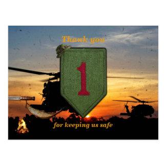 1st infantry big red 1 veterans vets patch postcard